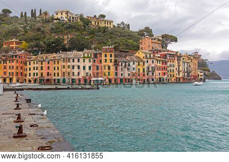 Portofino, Italy - February 1, 2018: Small Village With Colourful Houses At Rainy Winter Day In Port