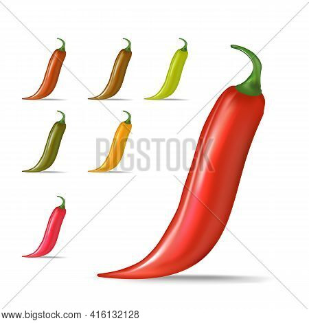 Vector Red, Green, Orange Chili Peppers Icons Set Isolated On White Background. 3d Realistic Vector