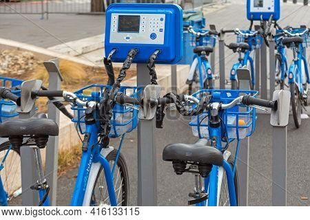 Nice, France - January 31, 2018: Blue Bicycles Rental Velo Bleu At Street In Nice, France.