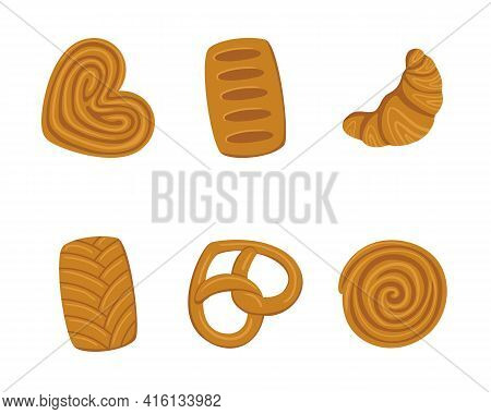 Vector Baking Set. Bagels, Croissants And Other Pastries. Set Of Flour Products From Bakery Or Pastr