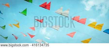 Fair Flag Bunting Colorful Background Hanging On Blue Sky For Fun Fiesta Party Event, Summer Holiday
