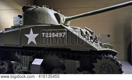 Gdansk, North Poland - August 14, 2020: M4 Sherman Firefly Tank From World War Second, Museum Of Wor