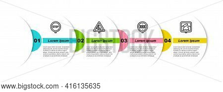 Set Line Stop Sign, Warning Road, Railroad Crossing And Drawbridge Ahead. Business Infographic Templ