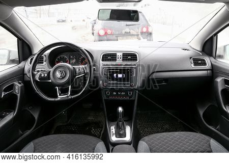 Moscow, Russia - January 23, 2021: Interior Of The Compact Car Volkswagen Polo Sedan.