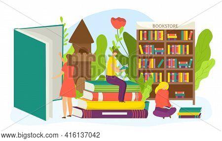 Bookstore Concept, Textbooks Collection, Literature In Bookcase, Vector Illustration. Educational Li