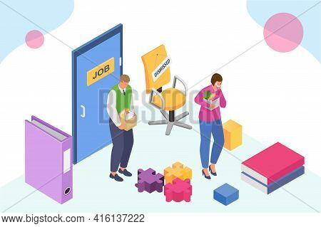 Dismissed Worker, Isometric Vector Illustration. Unemployed, Fired Man Character With Cartoon Box In