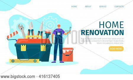 Home Renovation, Landing Banner, Vector Illustration. Flat Professional House Repair, Man Worker Cha