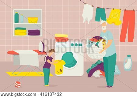 Family Make Housework, Father Son Washing Clothes Together, Vector Illustration. Man Boy Character M