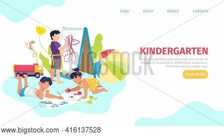 Kindergarten, Landing Banner, Vector Illustration. Little People, Girl Boy Character Play At Cartoon