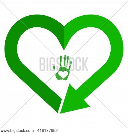 Recycling Symbol In Heart Shape, Reload Sign, Love Earth Color Icon. Recycle Heart Flat Isolated Ico