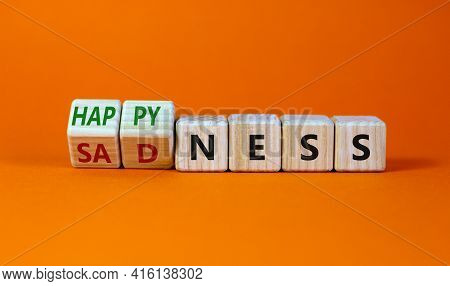 Happyness Or Sadness Symbol. Turned Cubes And Changed The Word 'sadness' To 'happyness'. Beautiful O