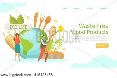 Waste Free, Eco Wood Products, Vector Illustration. Man Woman People Character Use Natural Product,