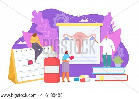 Contraception For Woman Character, Vector Illustration. Doctor Care About Girl Patient Health In Hos