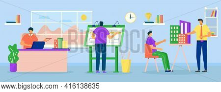 Professional Teamwork At Design Department Office, Vector Illustration. Man Woman People Character W