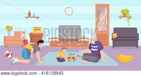 Vacation With Grandfather Together At Home, Vector Illustration. Happy Grandparent Character Play Wi
