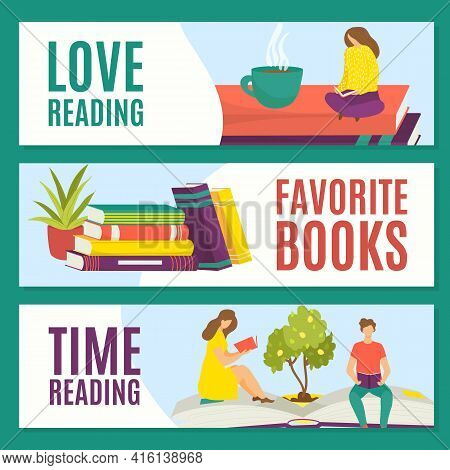 Love Reading Favorite Books, Reading Time, Set Concept, Vector Illustration. Man Woman People Charac