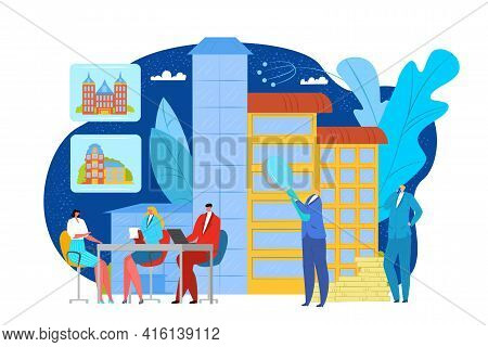 Real Estate Concept, Vector Illustration. Person Character Make Investment In Building, Apartment Br