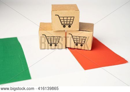 Box With Shopping Cart Logo And Italy Flag, Import Export Shopping Online Or Ecommerce Finance Deliv