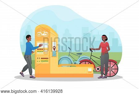 Male And Female Character Using Bicycle Rental. Concept Of Public City Bicycle Sharing Business. Man