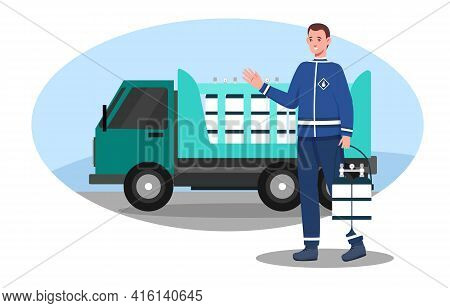 Male Character In Uniform Is Delivering Gas Cylinders. Smiling Deliveryman Parked His Vehicle And Ho