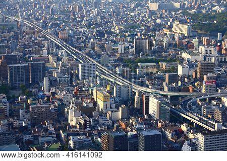 Nagoya, Japan - April 28, 2012: Aerial View Of Modern City In Nagoya, Japan. Nagoya Is The 4th Large