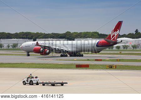 Tokyo, Japan - May 12, 2012: Virgin Atlantic Airbus A340 At Narita International Airport, Tokyo. Nar