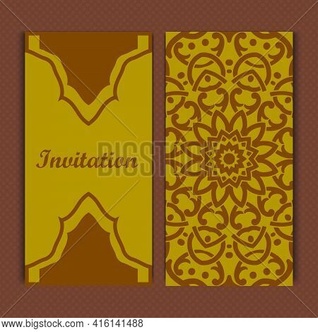 Mandala Invitation Card Design.floral Card Template Design.ornate Date Invitation Card.