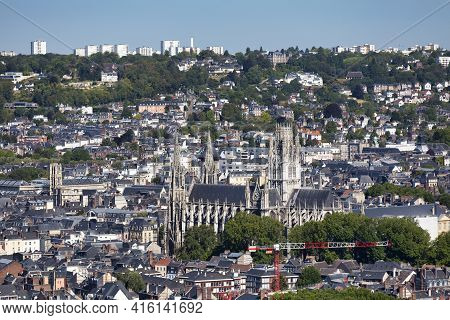 Rouen, France - August 05 2020: Aerial View Of The Abbatiale Saint-ouen And The Saint-laurent Church