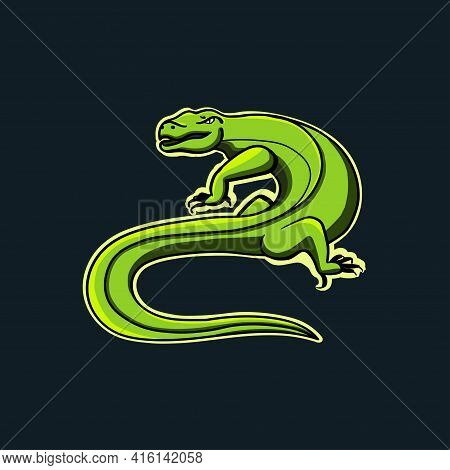 Lizard Logo Design Template In Vector, Lizard Mascot Logo. Design Flat Vector Illustration.