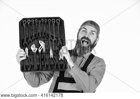 Worker Repairer Repairman Handyman Carrying Toolbox. Really Good Tools. Mechanic Tool Box. Man In Un