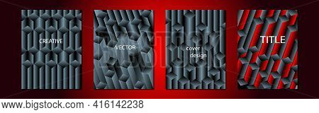 Set Of Abstract Backgrounds With Volumetric Geometric Shapes In Gray And Bright Red Colors