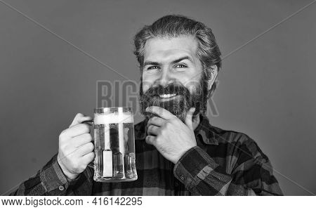 Retro Man With A Beer. Anticipating Fresh Cold Lager Beer. After Hard Working Day. Drink Draft Beer