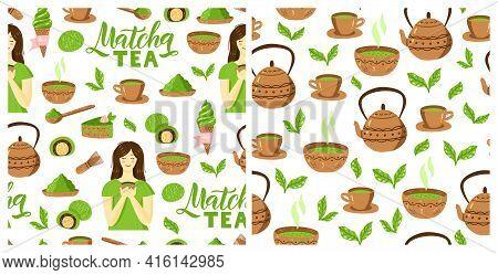 Matcha Green Tea Pattern. Seamless Japanese Culture Pattern With Matcha Powder, Bowl, Teapot And Cup
