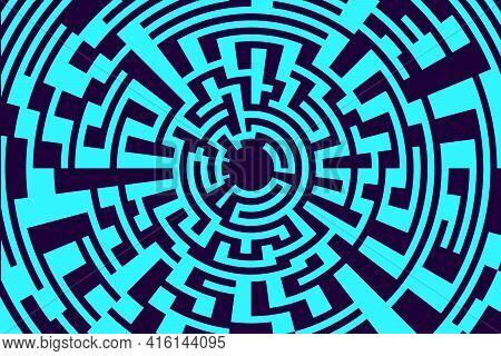Maze Background, Blue Labyrinth Backdrop. Abstract Hi Tech Mosaic Background. Modern Technology Vect