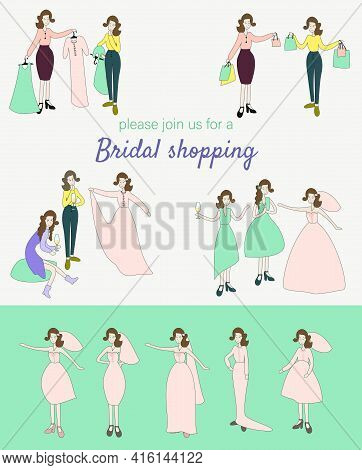 Join Bridal Shopping Invitation Design, Set Of Cartoon Women In Bridal Dress Vector Illustration, Wo