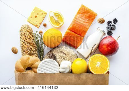 Healthy Food Paper Bag.vegetarian Food.healthy Food Background. Supermarket Food Concept.asparagus,