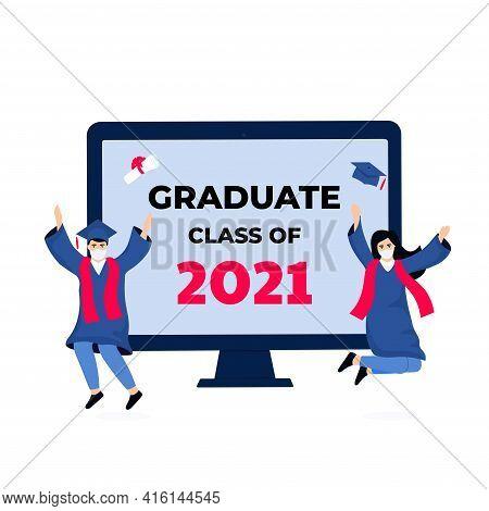 Virtual Online Graduation Ceremony On A Computer Monitor During Coronavirus Quarantine. Tiny Graduat