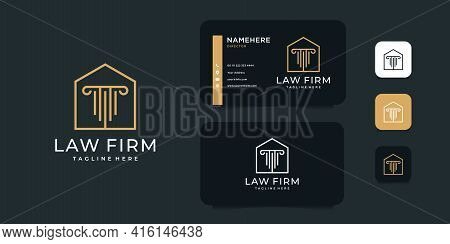 Set Of Home Law Firm Architecture Construction Attorney Logo Design Vector Inspiration. Logo Can Be