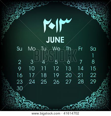 Islamic June month Calender 2013. EPS 10. poster