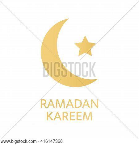 Ramadan Kareem Greeting Card. Golden Crescent And Star Symbol On White Background. Celebration Luxur