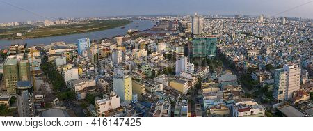 Ho Chi Minh City, Vietnam - 23/02/2016: Ho Chi Minh City Skyline Aerial View With Small Colored Resi