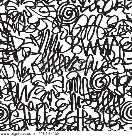Abstract Seamless Pattern With Chaotic Black Doodles On A White Background. Squiggle Freehand Textur
