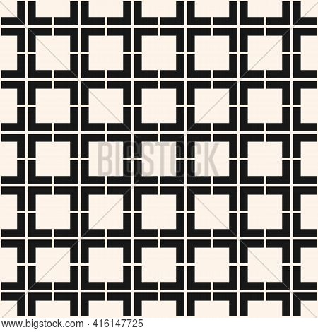 Vector Geometric Seamless Pattern. Abstract Black And White Texture With Squares, Grid, Lattice, Gri