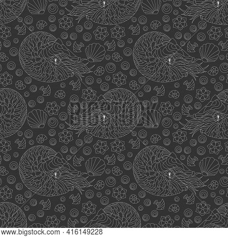 Seamless Pattern With Outlines Nautilus, Shells And Fish, Light Contour Animals On A Dark Background