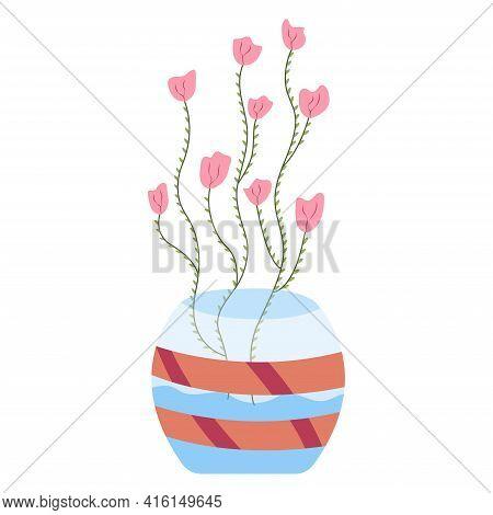 Pink Flowers In Circle Vase. Floral Vase. Blooming Spring Flowers. Llustration Vase With Flowers To