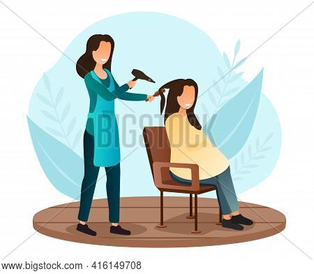 Female Character Is Having Her Hair Cut At Hairdressing Salon. Stylist Drying Customer Hair With Dry
