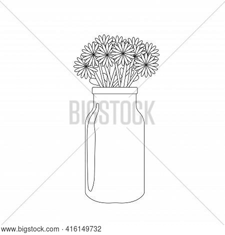 Chamomile In Beautiful Vase. Floral Vase Doodle. Blooming Spring Flowers. Flowers For Celebration Co