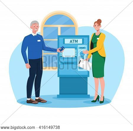 Female Bank Employee Helps Out Elderly Man To Use Atm. Grey Man In Casual Clothes. Old Man In Blue S