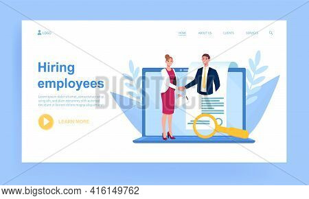 Female Manager Is Hiring Employees Online. Concept Of Hiring Employees, Human Resources, Recruitment