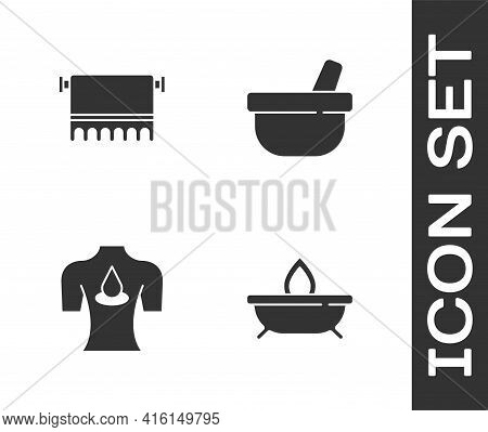 Set Aroma Candle, Towel On Hanger, Massage With Aroma Oils And Mortar Pestle Icon. Vector